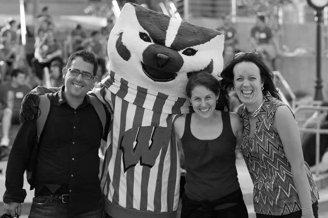 Bucky Badger with Professors Yackee, Klingele & Tahk